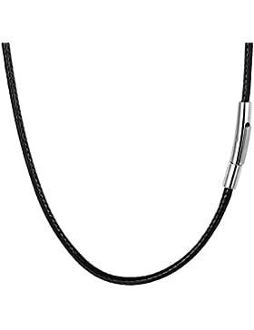 PROSTEEL Collar de Cuero Genuino para Hombre, 3mm Cadena de Cuero con Cierre de Acero Inoxidable Collar Básico...