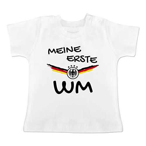 Fußball-Europameisterschaft 2020 - Baby - Meine erste WM Deutschland - 6-12 Monate - Weiß - BZ02 - Baby T-Shirt Kurzarm