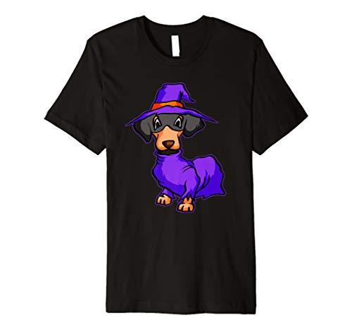 Lustiges Dackel Hexe T-Shirt Süßer Hexe Halloween Shirt