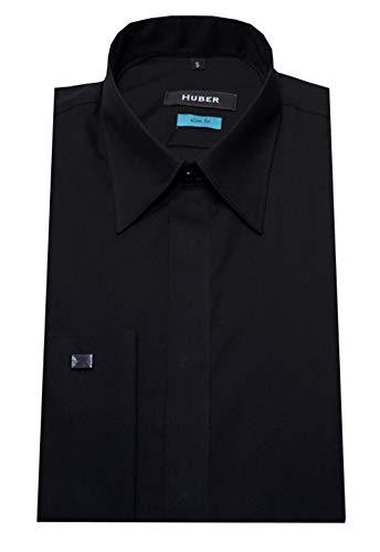 HUBER Manschettenhemd Slim Fit schwarz S