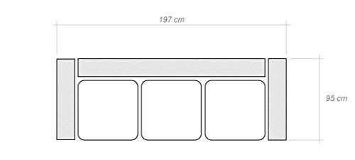 2er Sofa Darfo mit höhenverstellbare Lehne - Abmessungen: 182 x 95 cm (B x T) - 3