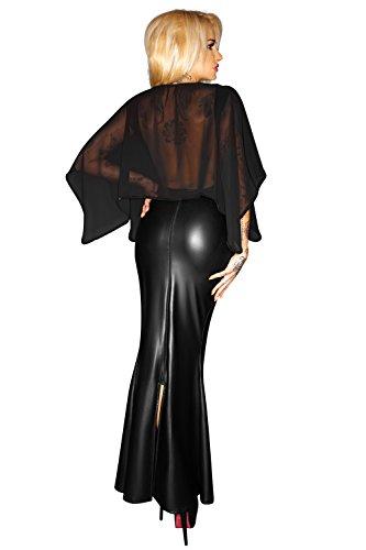 Schwarzes langes Kleid Abendkleid aus Chiffon und wetlook Material  transparent geschlitzt Schwarz