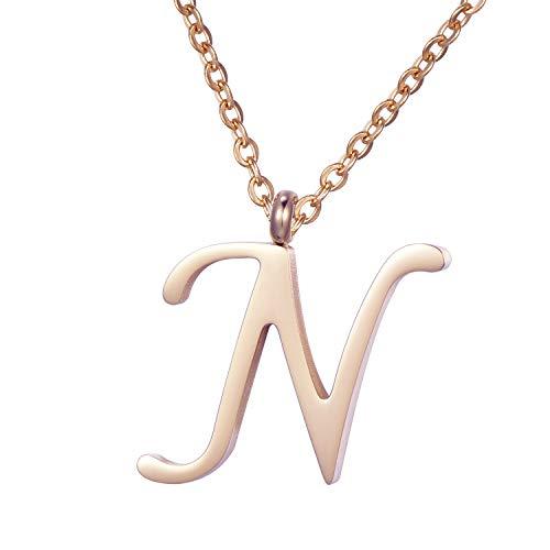 Morella Damen Halskette mit Buchstabe N Anhänger Edelstahl Rosegold in ()