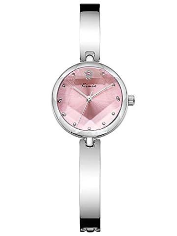 Alienwork Quartz Watch bracelet chain warp Wristwatch elegant stylish Metal pink silver YH.K6211S-03