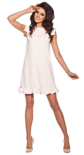 Rüschen Kleid (Lemoniade extravagantes Kleid mit ausgefallenen, kurzen Ärmeln und Rüschen-Saum, rosa, Gr. M)