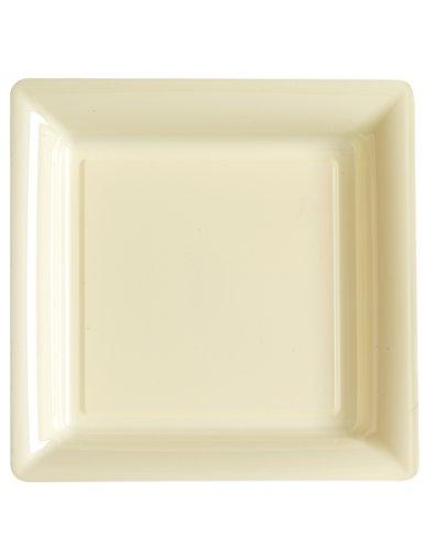 12 Assiettes carrées en plastique ivoire 23.5 cm