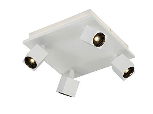 Spot LED d'angle 4 ampoules blanc mat avec éclairage indirect, spots LED orientables pour un design individuel.
