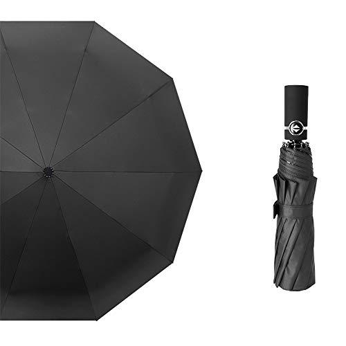 LYJZH Reiseregenschirm - Kompakter windfester Regenschirm - sehr leichtes und faltbares Design Vollautomatischer Regenschirm aus schwarzem Kunststoff vergrößerte Faltfarbe21 107cm