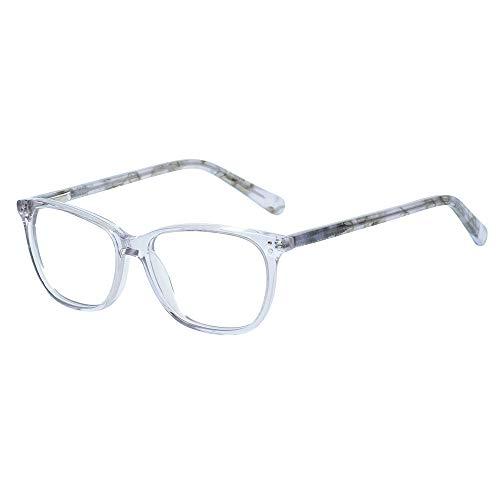 Teens Kinder Kids Brille Teenager Gestell Fassung Brillenrahmen eckig klar Gläser, für Jungen grau rosa Mädchen (Alter 5-12 Jahre) (Wk17070 C6 Gray)