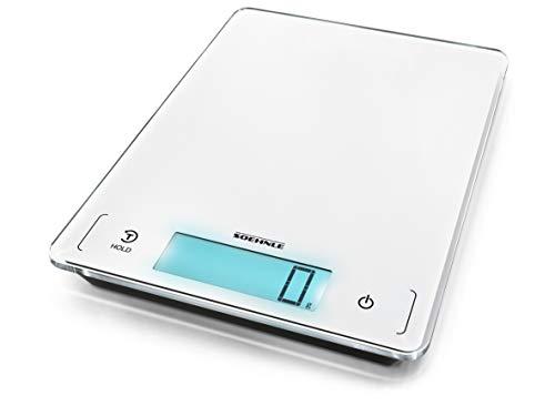Soehnle Page Profi 300 Digitale Küchenwaage, Gewicht bis zu 20 kg, Haushaltswaage mit Sensor-Touch, elektronische Waage inkl. Batterien, extragroße Wiegefläche, beleuchtete LCD-Anzeige, weiß