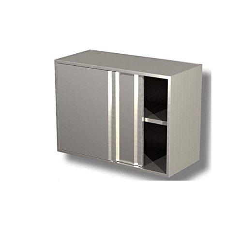 Suspendre fermé en acier inoxydable avec portes coulissantes et avec étagère intermédiaire dim. cm 190 x 40 x 65H