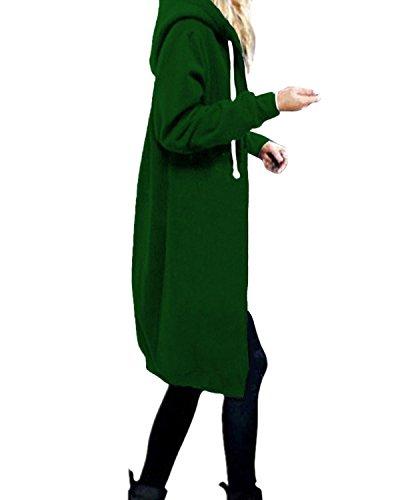 StyleDome Damen Hoodie Kapuzenpullover Pullover Jacke Sweatjacke warm gefüttert Strickjacke Zip Jacket Grün 36 (Hoodie Strickjacke Zip)