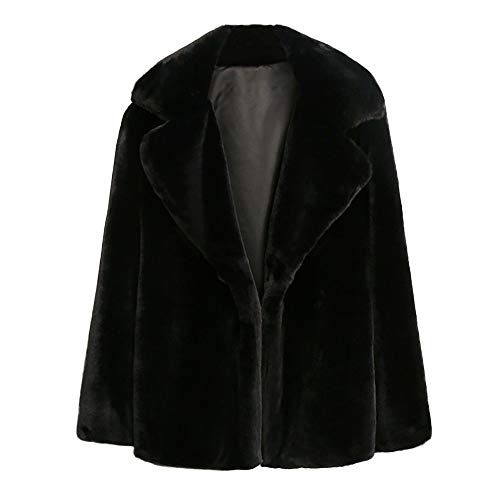 Fur Jacket Damen MYMYG Elegant Wollmantel Strickjacken Wintermantel Faux Pelzmantel Warme Kunstpelz Jacke Pelzjacke Kurzmantel Einfarbig Fell Winterjacke Fleecejacke Parkas(Schwarz,EU:44/CN-3XL)