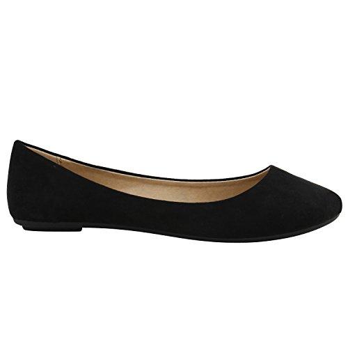Klassische Damen Ballerinas Lederoptik Modische Schuhe Freizeit Schwarz Schwarz