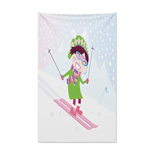 ABAKUHAUS Sport Wandteppich und Tagesdecke, Skifahren Mädchen Schnee aus Weiches Mikrofaser Stoff Kein Verblassen Klare Farben Waschbar, 140 x 230 cm, Mehrfarbig