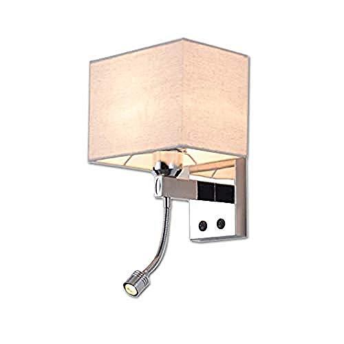 Lichtkronleuchter Wandleuchte Moderne Kreative Wandleuchte Mit Led Leselicht Und Schalter Quadrat Stoff Lampenschirm Wandleuchte Mode Wohnzimmer Lampe Schlafzimmer