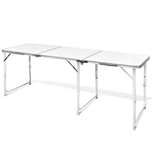 Preisvergleich Produktbild Festnight Campingtisch Klapptisch Buffettisch Gartentisch aus Aluminium mit Tragegriff 180 x 60 cm Klappbar Höhenverstellbar