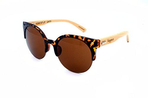 Vagance Cateye Sonnenbrille mit Bambus Bügeln + Echtholz Box (Leopard, Braun)
