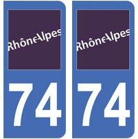2 autocollants 74 haute-Savoie plaque immatriculation département auto 74 : angles arrondis