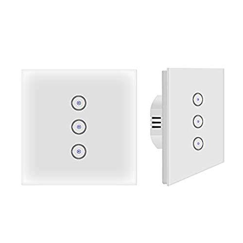 Jinvoo Smart WiFi Wandlichtschalter Glasscheibe, Touchscreen-Schalter, Drahtlose Fernbedienung von Mobile APP überall, Timing-Funktion, kein Hub erforderlich, kompatibel mit Alexa (EU 3 Gang 2-Pack)