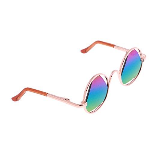MagiDeal Schöne Puppe Gläser Sonnenbrille - Runde Rahmen mit Dreieck Linse - Zubehör Für 1/6 Blythe Puppe - Bunt, Goldener Rahmen