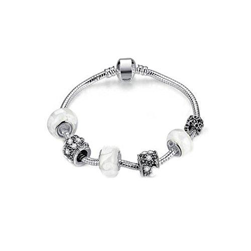 Z&YQ Armband-Armbandart und weise einfache Frauen DIY Schmucksachen wulstiges Glas Europa-Charme Weihnachtsgeschenke , silver , one size (Weihnachtsgeschenke Diy Einfache)