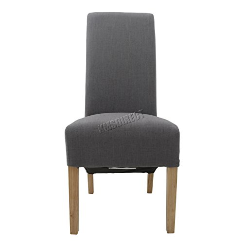 FoxHunter Furniture Set of 2 Premium Grey Linen Fabric Dining Chairs Roll Top Scroll High Back with Solid Wood Legs Springed Seat Contemporary Modern Look