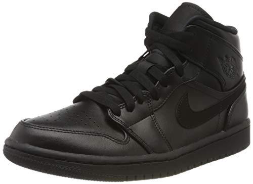 Nike Herren AIR Jordan 1 MID Basketballschuhe, Schwarz (Black/Black/Black 090), 41 EU