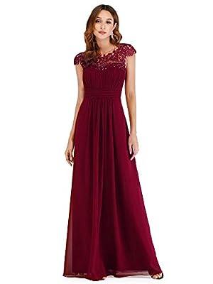Ever Pretty Womens Elegant A Line Empire Waist Lace Cap Sleeves Long Chiffon Bridesmaid Dresses 07629