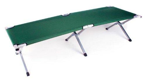 Faltbares Army Feldbett aus Aluminium - klappbares Campingbett & Gästebett (Grün)