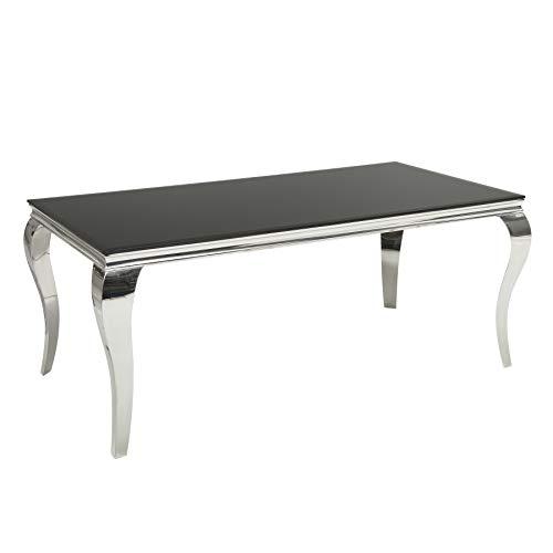 Esstisch MODERN BAROCK schwarz silber 180 cm Opalglas Tisch Esszimmertisch Barockstil