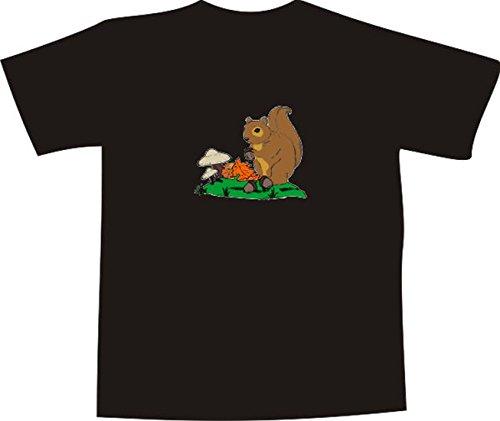 T-Shirt E757 Schönes T-Shirt mit farbigem Brustaufdruck - Logo / Grafik - Comic Design - Eichhörnchen mit Eicheln und Pilzen im Wald Weiß