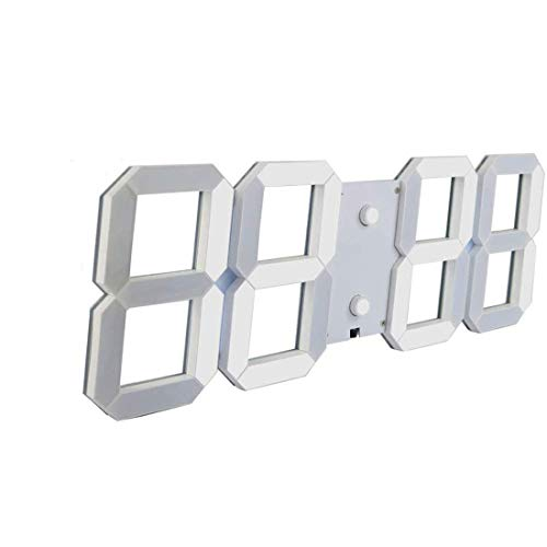 Fernbedienung Digital Led Wall Clock, Multifunktion Led Alarm Clock, Großer Kalender, Minute-Alarmuhr, Countdown Led Clock, Big Thermometer, Mute Clock,White