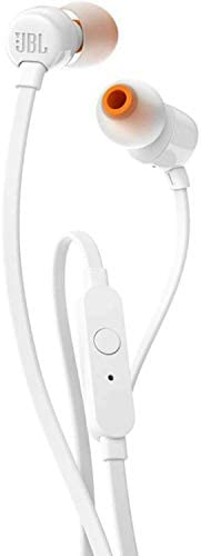 JBL T110 Wired Universal In-Ear Headphone with Microphone, White