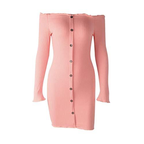 OdeJoy Mode Frau Schrägstrich Hals Taste Langeärmel Kleid Beiläufig Solide aus Schulter Dresses...