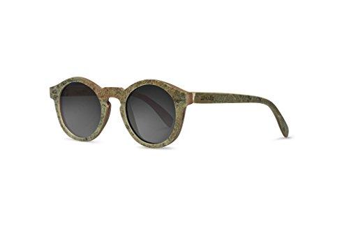 Woodie Berg & Rose Holz Sonnenbrille mit Steinschicht - Walnussholz & Schieferstein Handgemacht Polarized UV 400