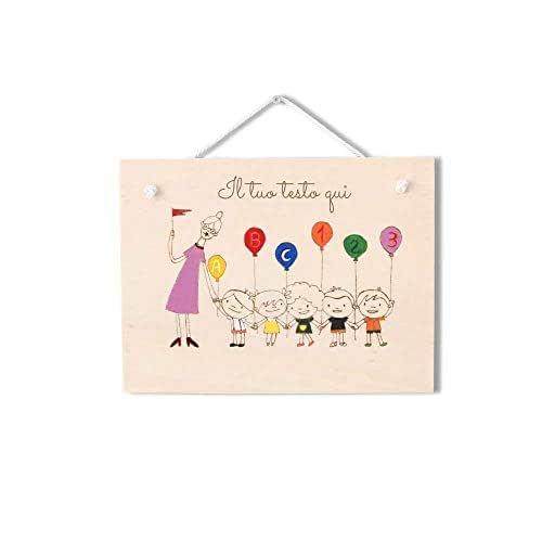 Targa regalo maestra personalizzabile in legno tema bambini con palloncini
