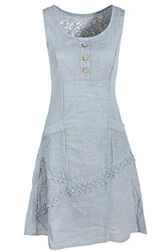 GS-Fashion Leinenkleid Damen Sommer mit Spitze am Rücken KLeid ärmellos knielang Grau 36 (Herstellergröße M)