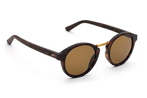 TAKE A SHOT - Runde Holz-Sonnenbrille unisex, Holz-Bügel, Metallsteg und Kunststoff-Rahmen, UV400 Schutz, rückentspiegelte Gläser