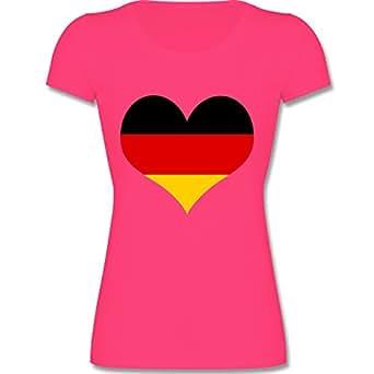 F288N – Leicht tailliertes Damen Frauen T Shirt Lady-Fit Valueweight T mit Rundhalsausschnitt, bewährte Qualität – EM 2016 – Frankreich – Deutschland Herz