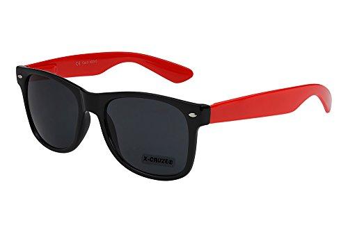 X-CRUZE® 8-083 X0 Nerd Sonnenbrille Retro Vintage Design Style Stil Unisex Herren Damen Männer Frauen Brille Nerdbrille - schwarz/rot