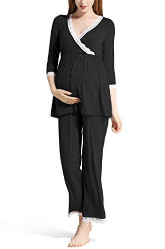 Molliya Schlafanzug für Damen,Umstandspyjama mit Spitze für Schwangerschaft und Stillzeit-Stillfunktion,Lang-Langarm Nachtwäsche,schwarz,L