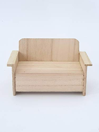 Takestop® set 2 pezzi divano legno decoupage gioco 12x6x5cm sedia giardino rf_63825 decorazione per casa bambole giocattolo bambini