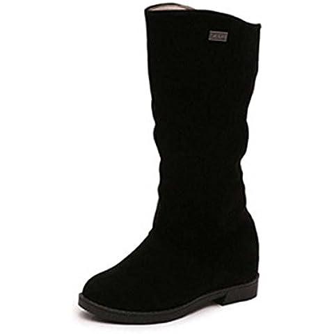 SHIXR Nuovo signore caldi Stivali in camoscio pilota alta stivali invernali , black , 35