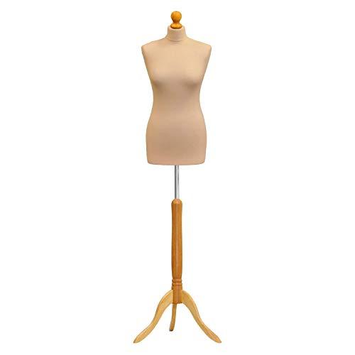 The Shopfitting Shop Buste de couture femme sur trépied en bois Blanc Taille 38-40