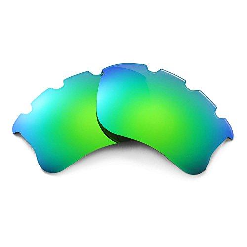 Walleva Ersatz belüftete Linsen für Oakley Flak Jacket XLJ Sonnenbrille - Mehrfache Optionen (Emerald Mirror Coated - Polarized)