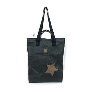 T.I.M.O Haschuru Handtasche Schultertasche Rucksack 3in1 veganes Leder waschbares Papier schwarz