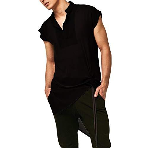 SoonerQuicker Schwarzes mittelalterliches Hemd der Spitzenweste Mens Fancy Dress Costume Vintage T Shirt Bluse Top