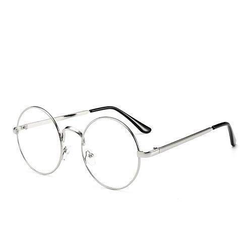 Yangjing-hl Metall Textur literarischen Männer und Frauen Brillengestell lässig kleine runde Rahmen optische Gläser Rahmen Wilde Flache Spiegel Silberrahmen