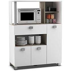 Mueble auxiliar de cocina en color blanco con un cajon y varios compartimentos 132x99cm